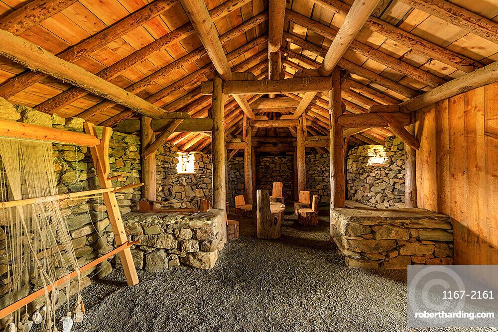 Replica Viking longhouse, interior, Haroldswick, Island of Unst, Shetland Isles, Scotland, United Kingdom, Europe