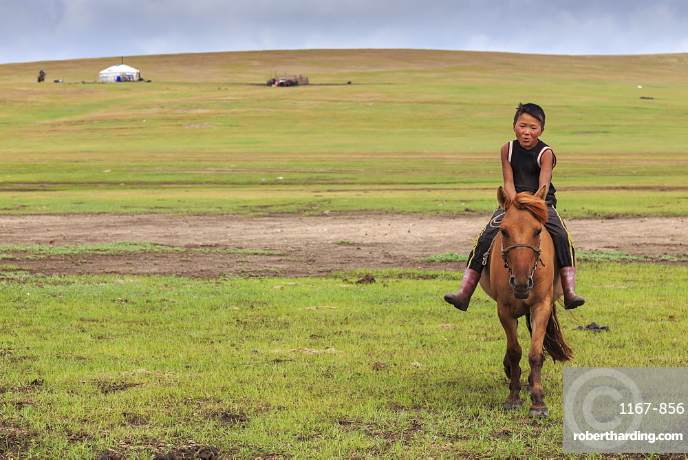 Horse and boy riding bareback with ger behind at summer nomad camp, Khujirt, Uvurkhangai (Ovorkhangai), Central Mongolia, Central Asia, Asia