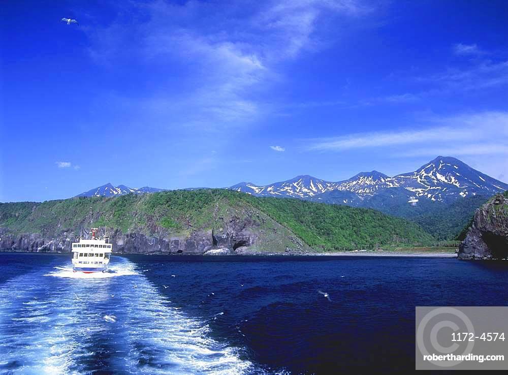 Sightseeing Ferry, Shiretoko Mountain Range, Hokkaido, Japan