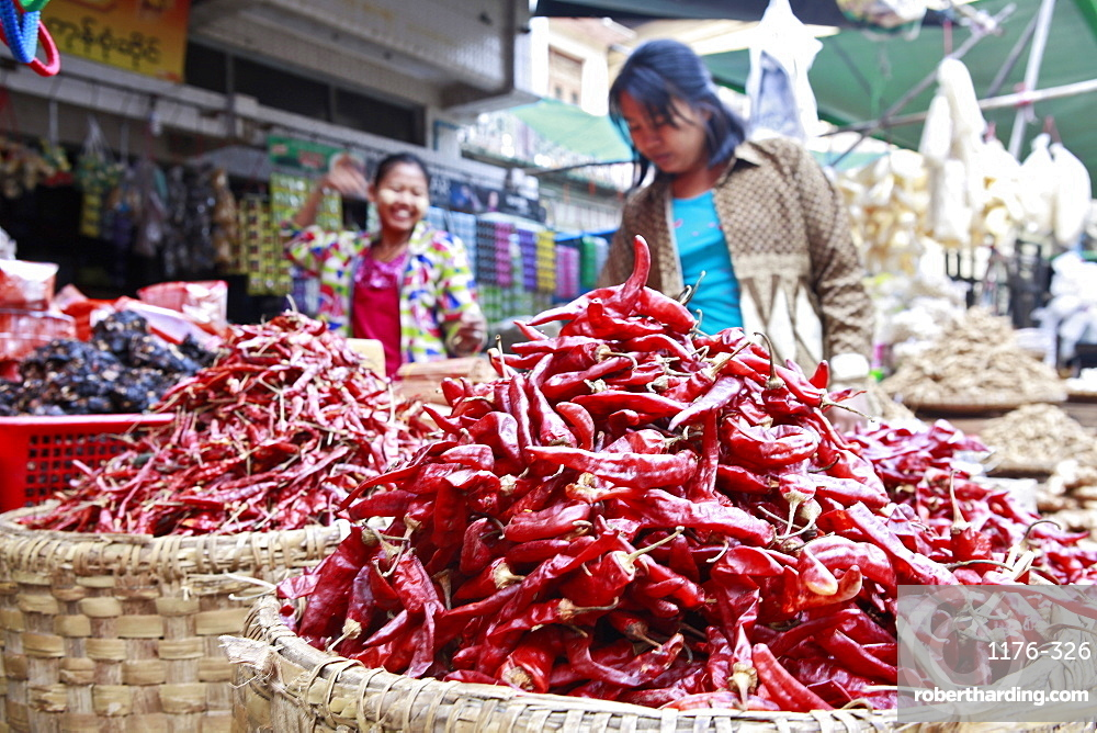 Chilli peppers at Monywa market, Monywa, Sagaing, Myanmar, Southeast Asia