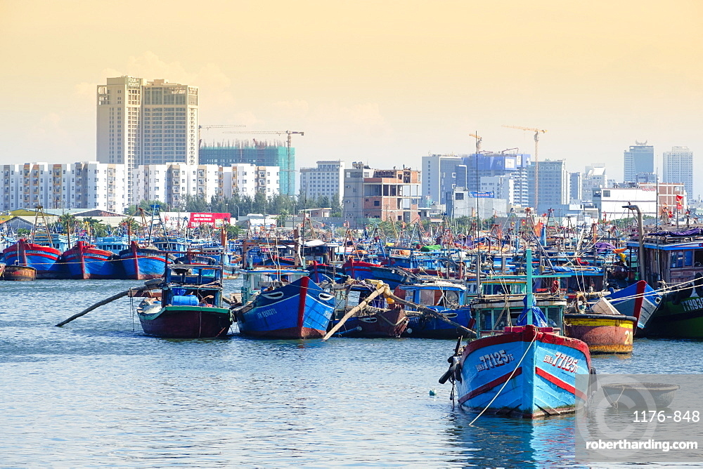 Fishing boats in the harbour in Danang, Quang Nam, Vietnam, Indochina, Southeast Asia, Asia
