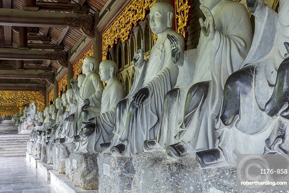 Gia Sinh, Bodhisattva statues at the Bai Dinh Mahayana Buddhist Temple near Tam Coc, Ninh Binh, Vietnam, Indochina, Southeast Asia, Asia