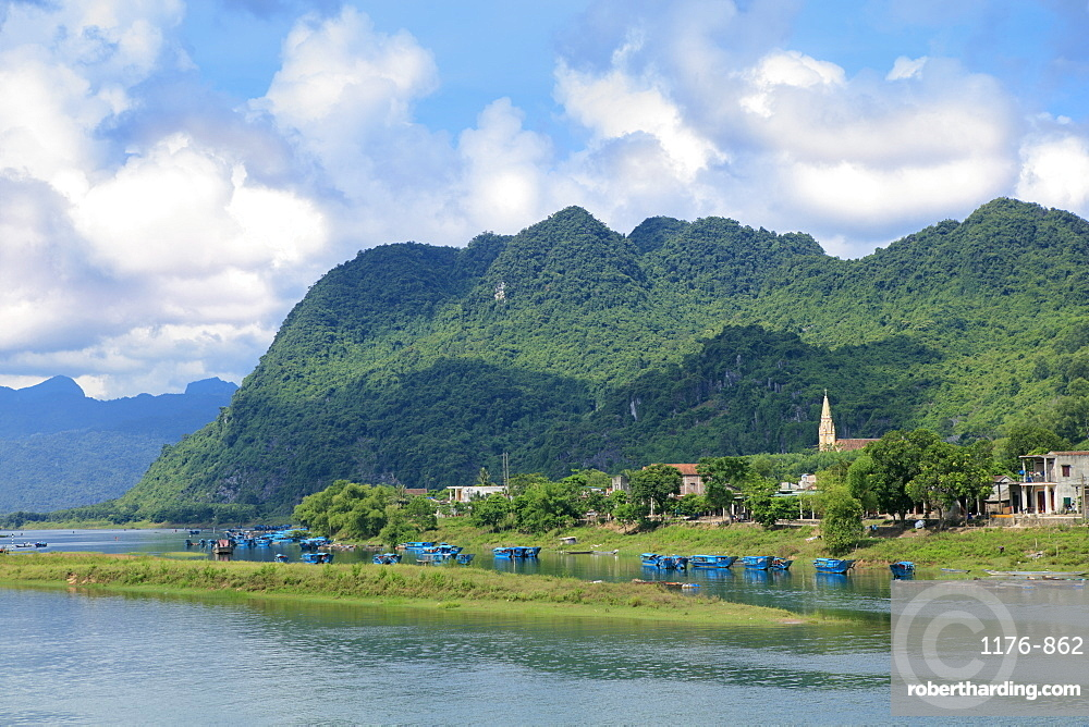 Son River and Catholic Church in the Phong Nha Ke Bang National Park, Quang Binh, Vietnam, Indochina, Southeast Asia, Asia