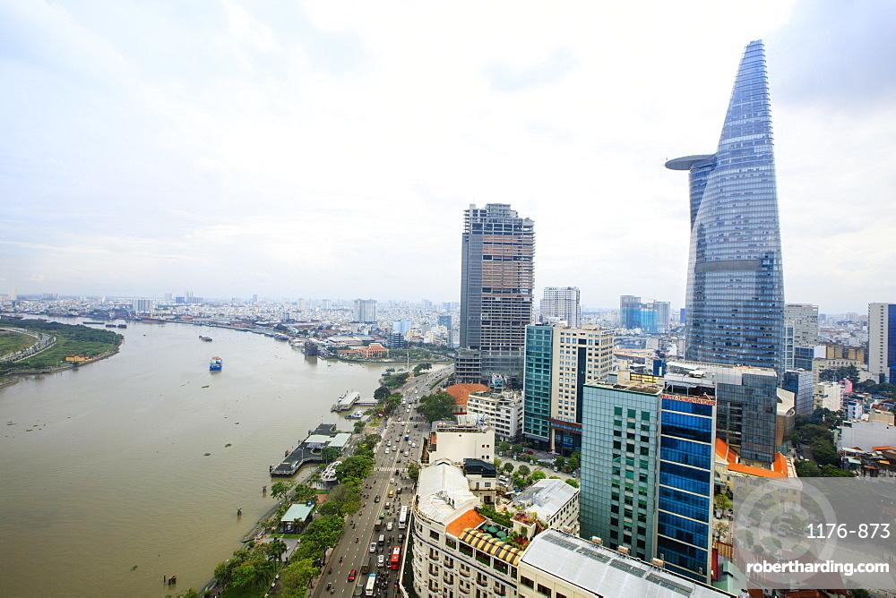 The skyline of Ho Chi Minh City (Saigon) showing the Bitexco tower and the Saigon River, Hoi Chi Minh City, Vietnam, Indochina, Southeast Asia, Asia