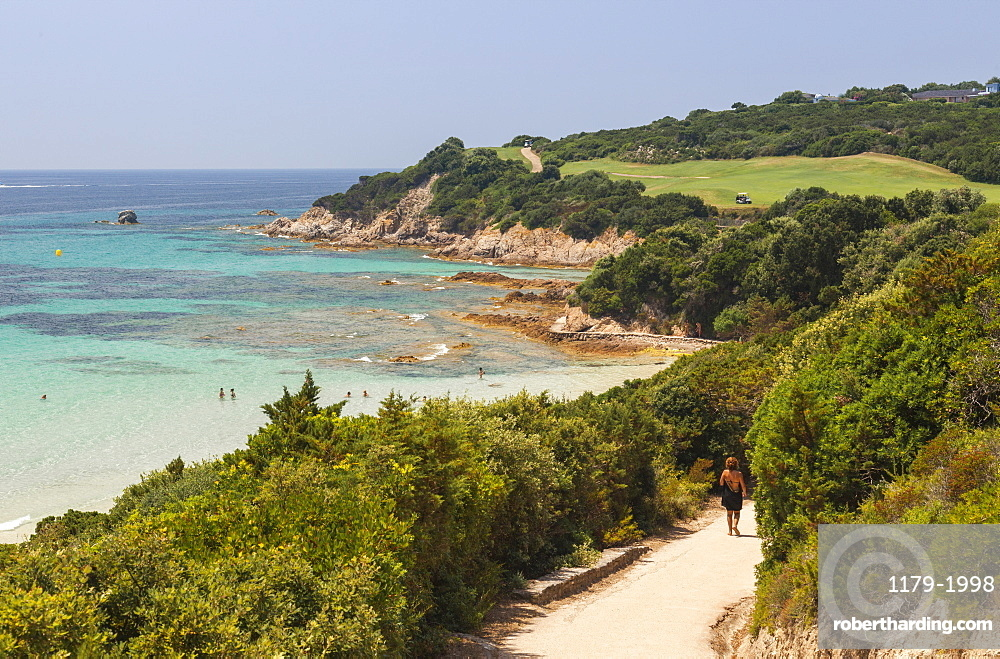 Summer view of the turquoise sea and the golf course on the promontory, Sperone, Bonifacio, South Corsica, France, Mediterranean, Europe