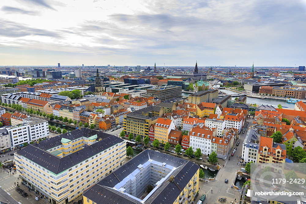 Overview of the city seen from Church of Our Saviour, Copenhagen, Denmark, Europe