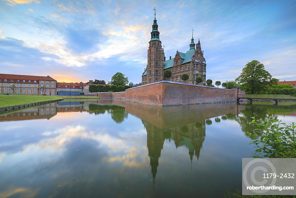 Rosenborg Castle reflected in the canal, Kongens Have, Copenhagen, Denmark, Europe