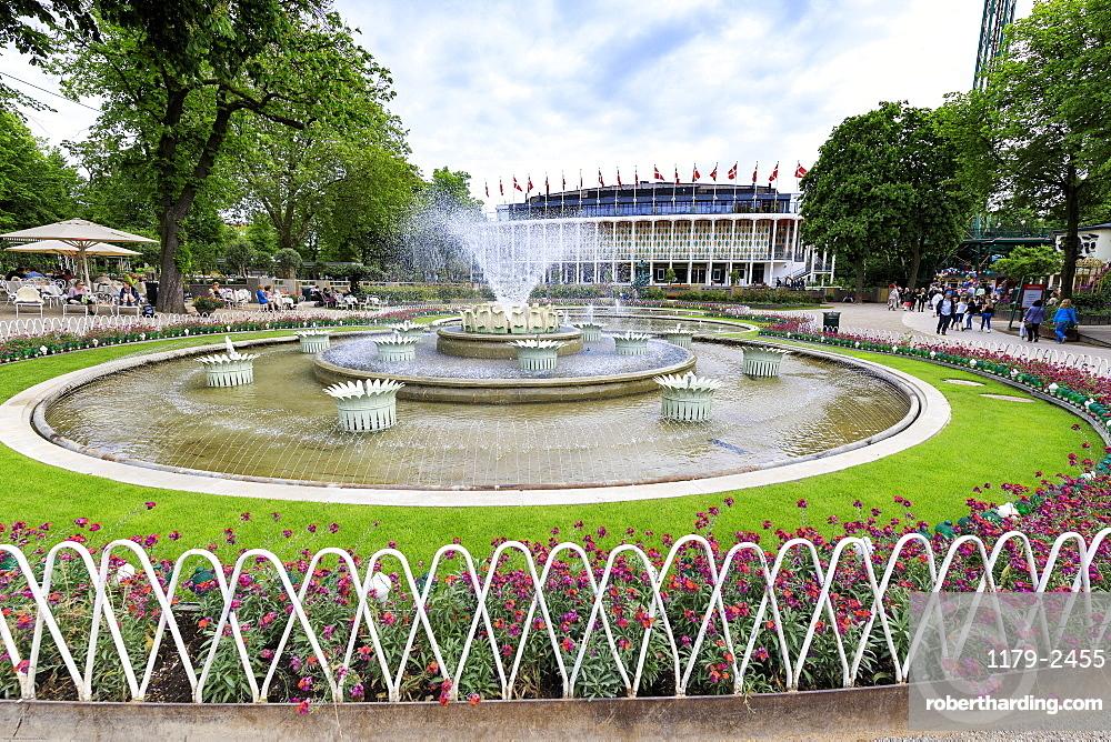 Fountains and the Concert Hall in the background, Tivoli Gardens, Copenhagen, Denmark, Europe