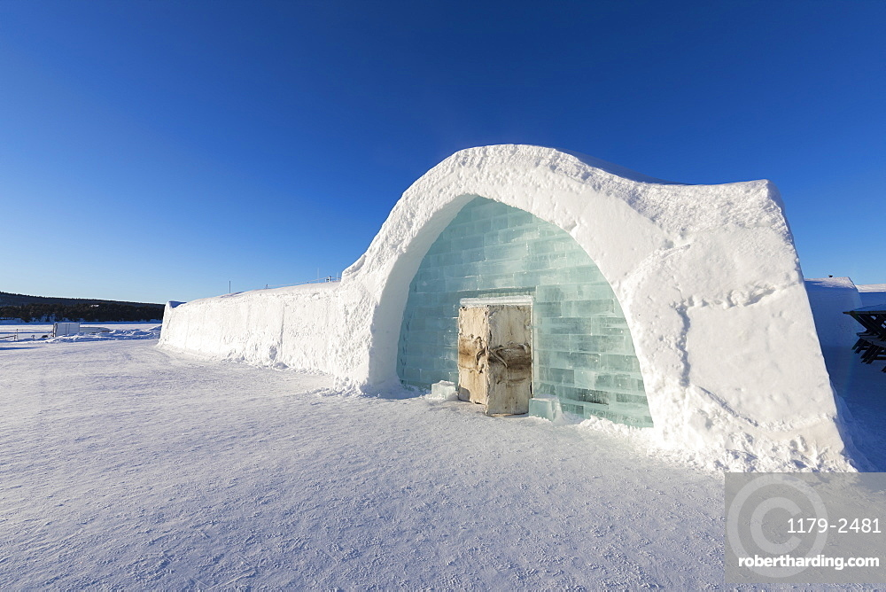 Ice building with igloo shape in the snow, Ice Hotel, Jukkasjarvi, Kiruna, Norrbotten County, Lapland, Sweden, Scandinavia, Europe