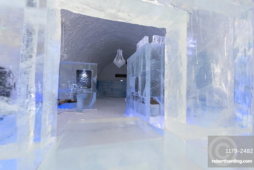 Sculptures of ice in the interior rooms of the Ice Hotel, Jukkasjarvi, Kiruna, Norrbotten County, Lapland, Sweden, Scandinavia, Europe