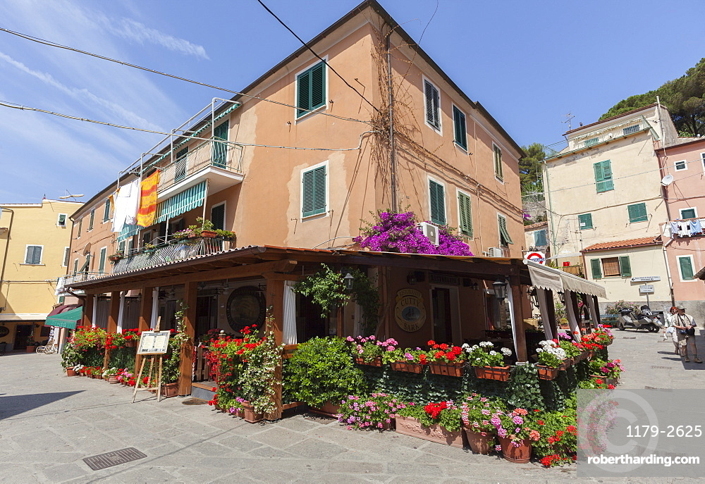 Typical restaurant in the old town of Porto Azzurro, Elba Island, Livorno Province, Tuscany, Italy, Europe