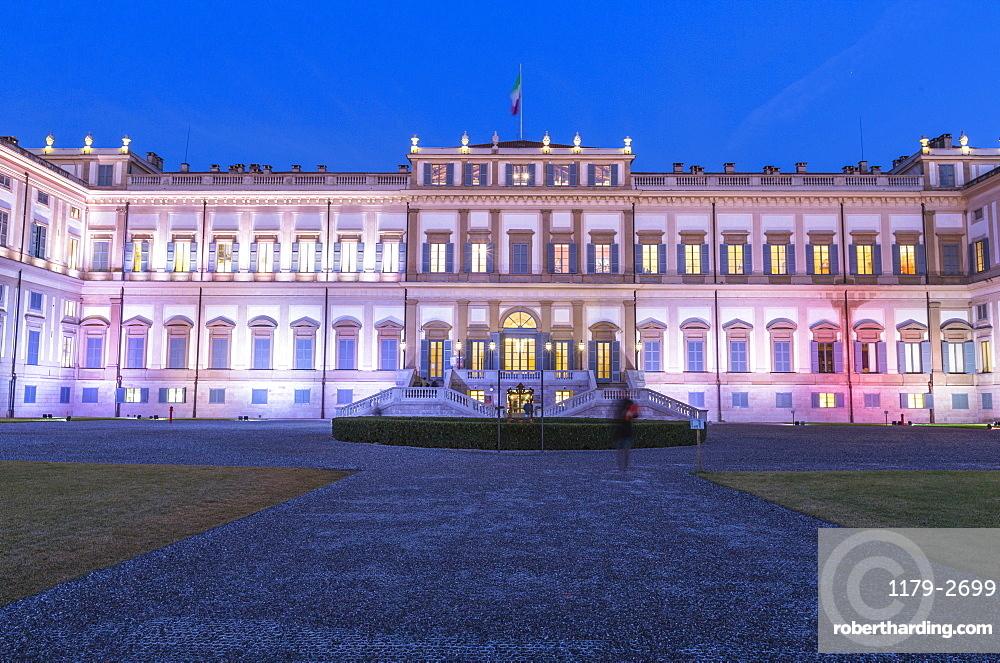 Facade of Villa Reale illuminated at dusk, Monza, Lombardy, Italy, Europe
