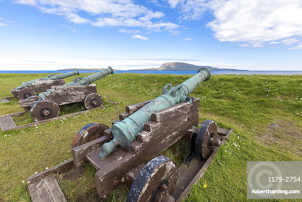 Cannons at the historic fortress of Skansin,Torshavn, Streymoy Island, Faroe Islands, Denmark, Europe