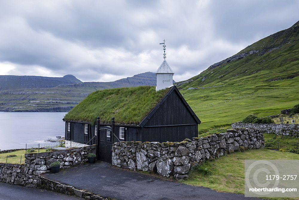 The wooden turf roofed church in Funningur, Eysturoy Island, Faroe islands, Denmark, Europe