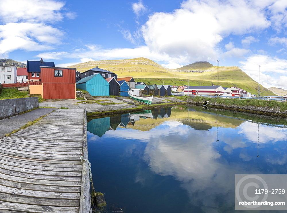 Panoramic of the fishing village of Leirvik, Eysturoy Island, Faroe Islands, Denmark, Europe
