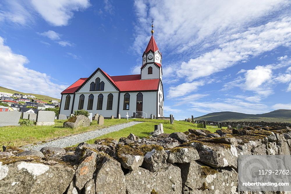 Church and cemetery in Sandavagur, Vagar Island, Faroe Islands, Denmark, Europe