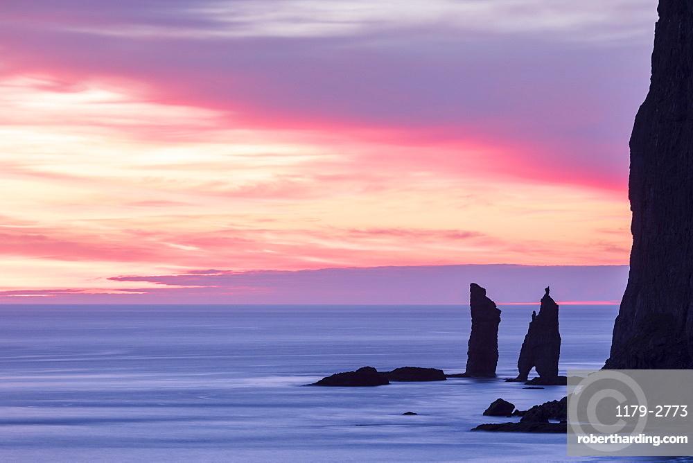 Cliffs of Risin og Kellingin at sunrise seen from Tjornuvik, Streymoy Island, Faroe Islands, Denmark, Europe