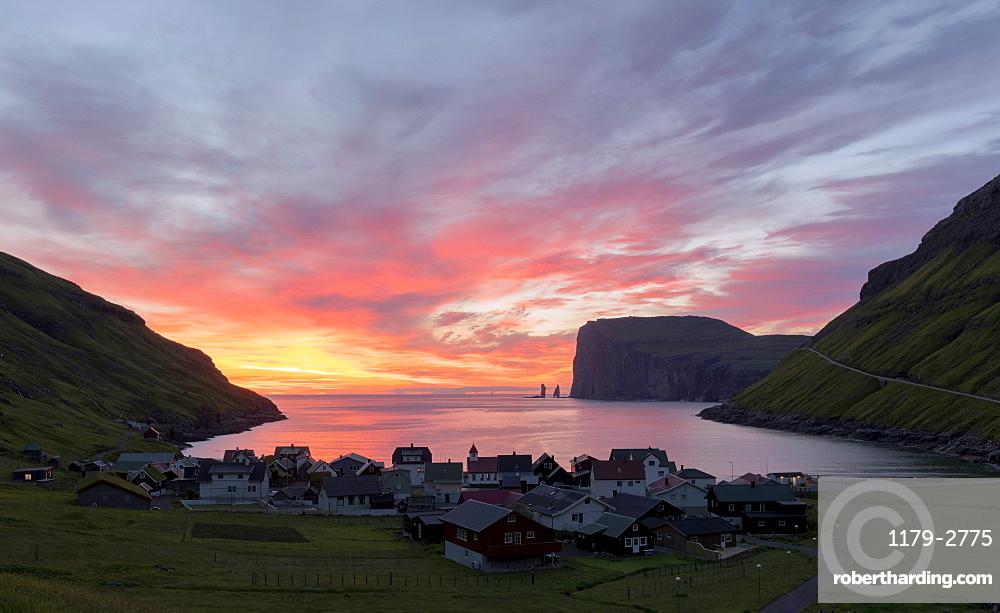 The village of Tjornuvik at sunrise, Sunda Municipality, Streymoy Island, Faroe Islands, Denmark, Europe