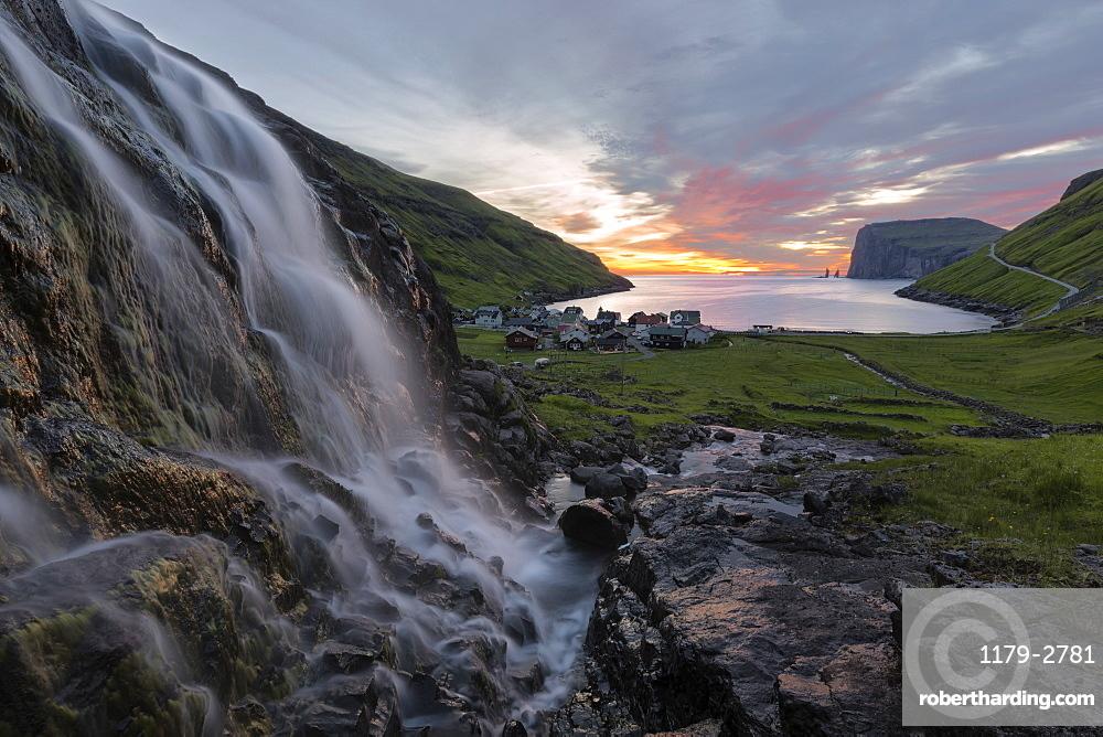 Waterfall at sunrise, Tjornuvik, Sunda Municipality, Streymoy Island, Faroe Islands, Denmark, Europe