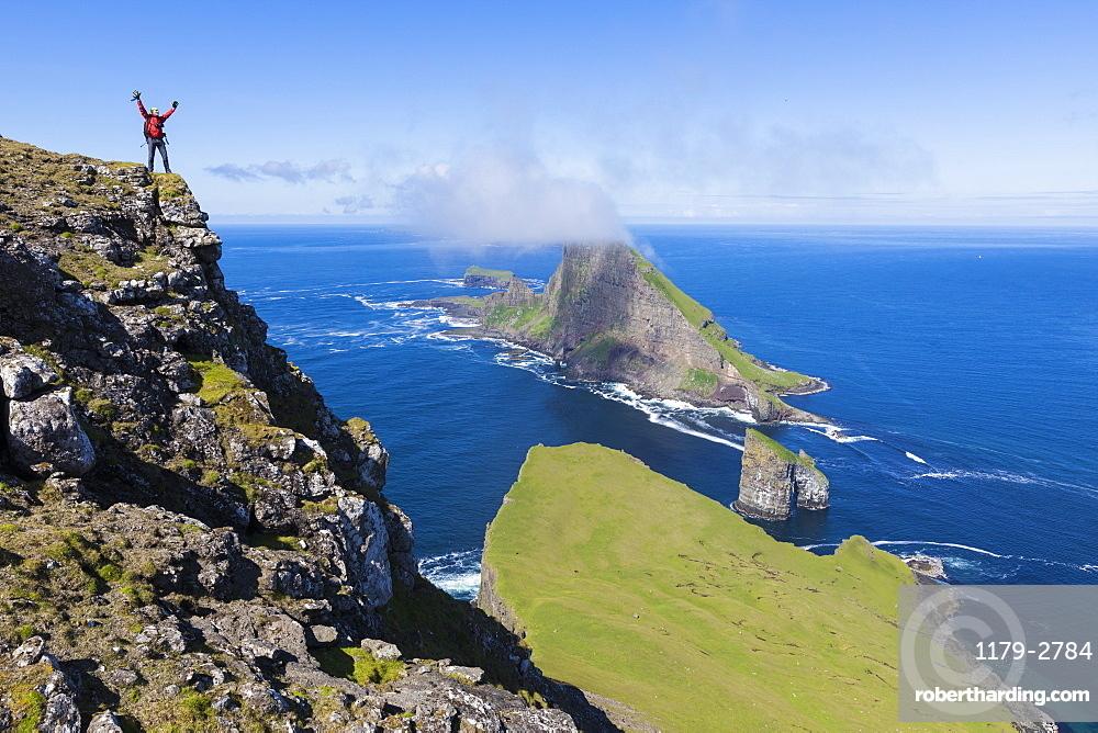Cliffs of Drangarnir and Tindholmur Islet, Vagar Island, Faroe Island, Denmark, Europe