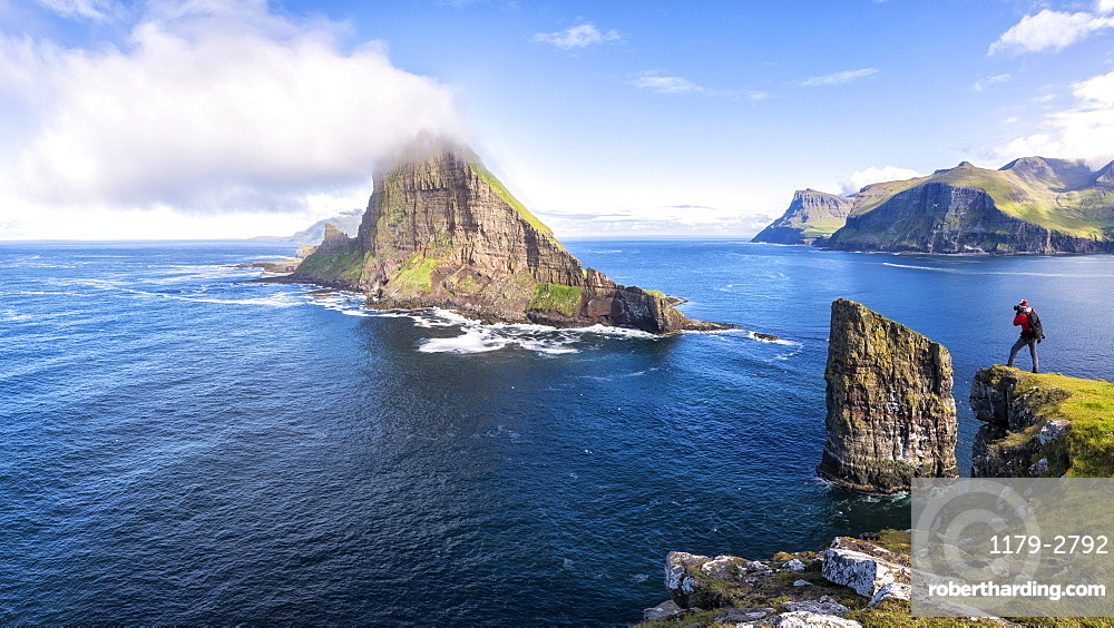 Panoramic of the sea stacks of Drangarnir and Tindholmur islet, Vagar Island, Faroe Islands, Denmark, Europe