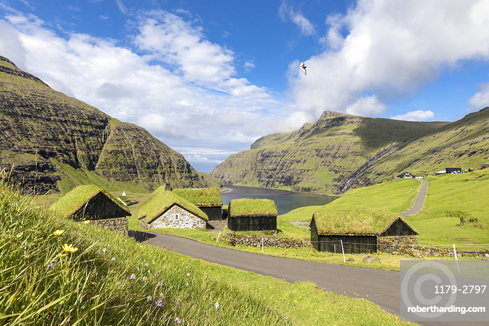 Typical grass roof (turf roof) houses, Saksun, Streymoy Island, Faroe Islands, Denmark, Europe