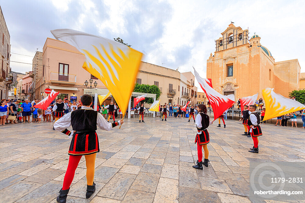 Traditional costumes and flags, Favignana island, Aegadian Islands, province of Trapani, Sicily, Italy
