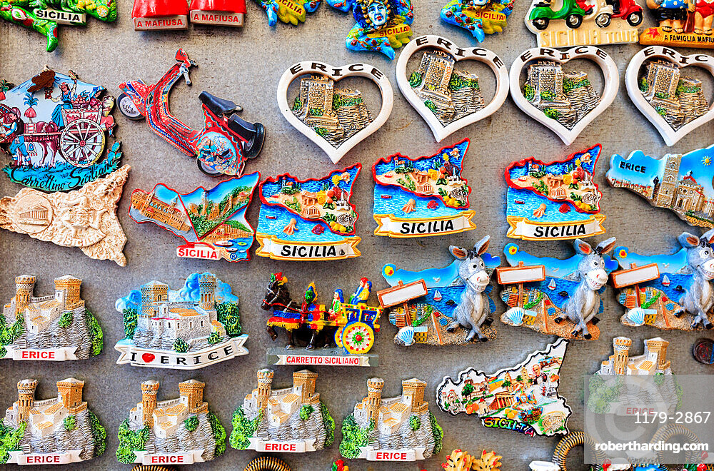Details of typical souvenirs of Sicily, Italy