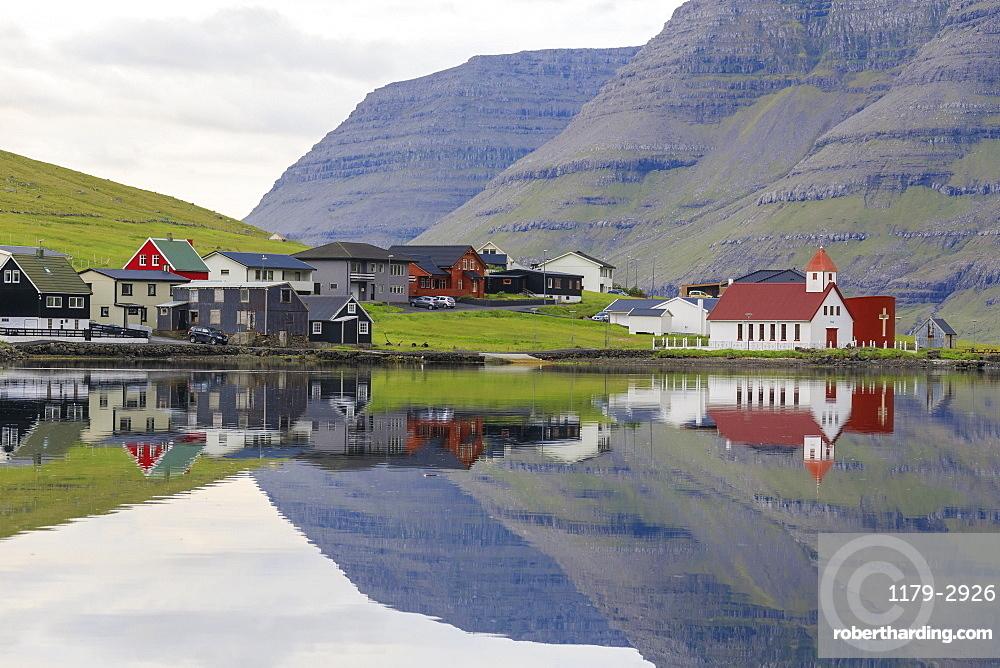 Village and church, Hvannasund, Vidoy Island, Faroe Islands, Denmark, Europe