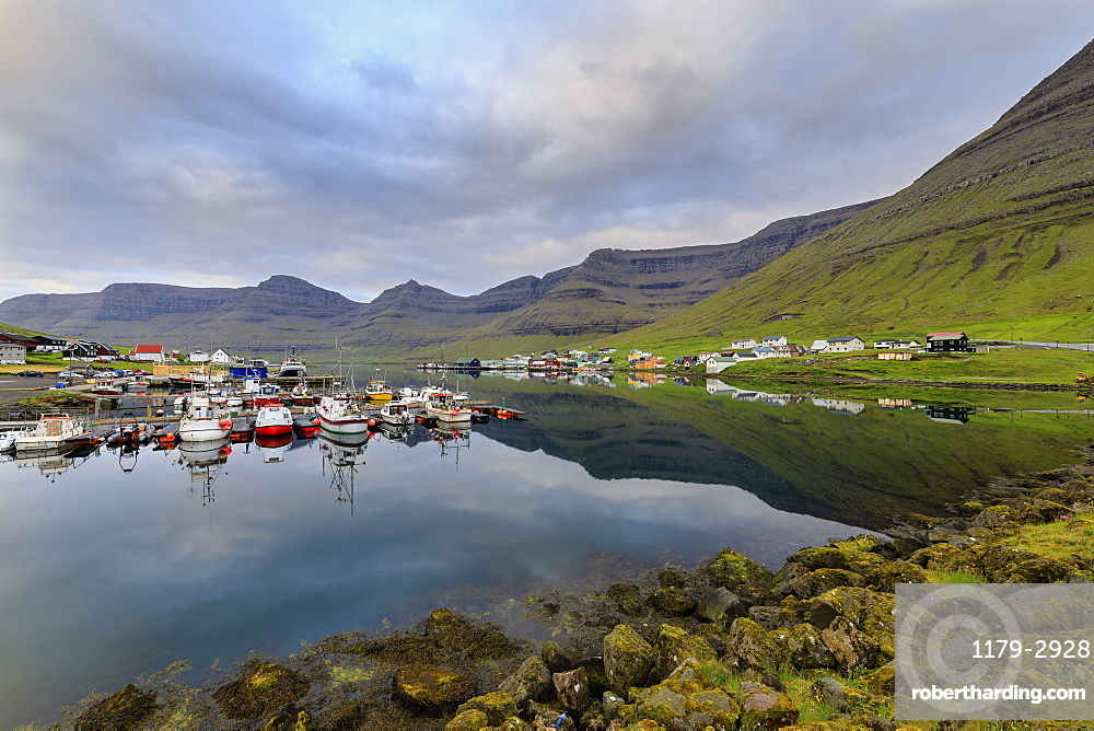 Villages of Hvannasund on Vidoy Island and Norddepil on Bordoy Island, Faroe Islands, Denmark, Europe