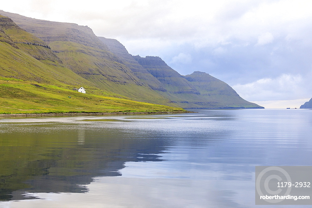 View of fjord towards sea from Norddepil, Bordoy island, Faroe Islands, Denmark, Europe