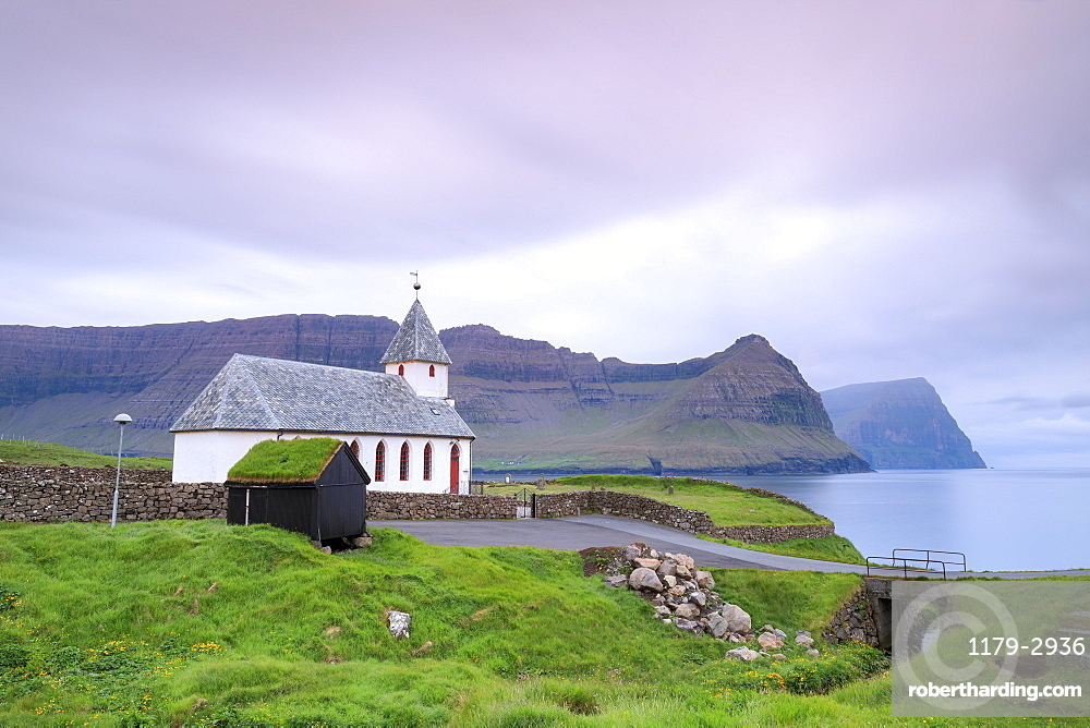 Church of Vidareidi by the sea, Vidoy Island, Faroe Islands, Denmark, Europe