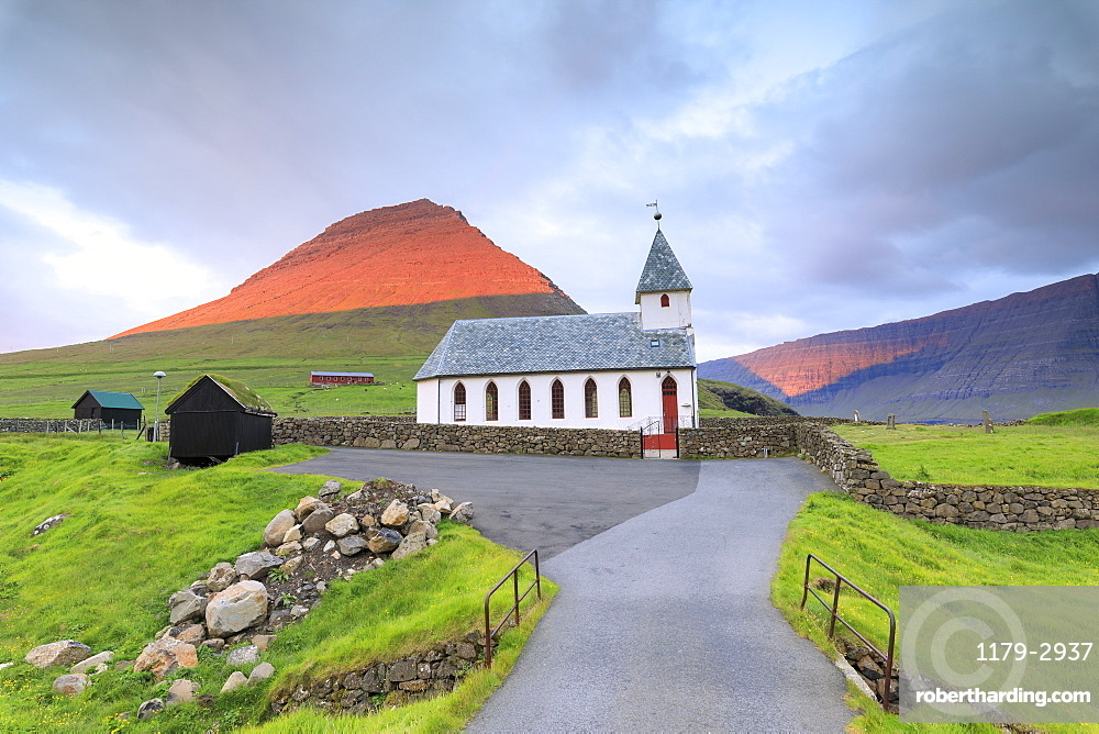 Church of Vidareidi, Vidoy Island, Faroe Islands, Denmark, Europe