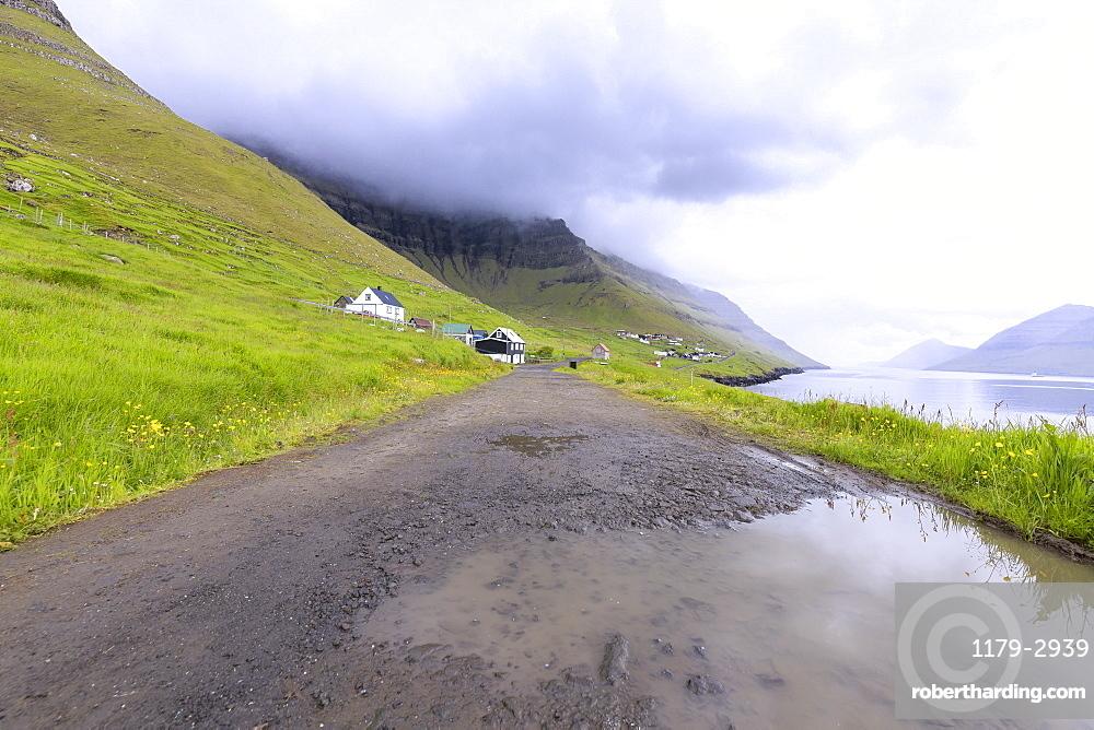 Road to the village, Kunoy Island, Nordoyar, Faroe Islands, Denmark