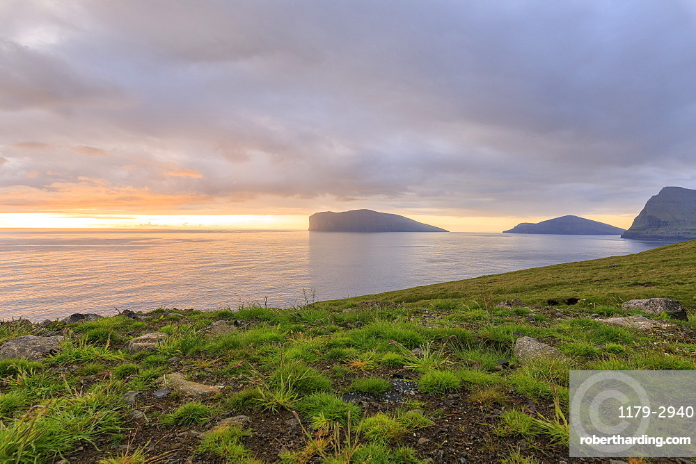 Svinoy and Fugloy Islands seen from Vidoy Island, Faroe Island, Denmark, Europe