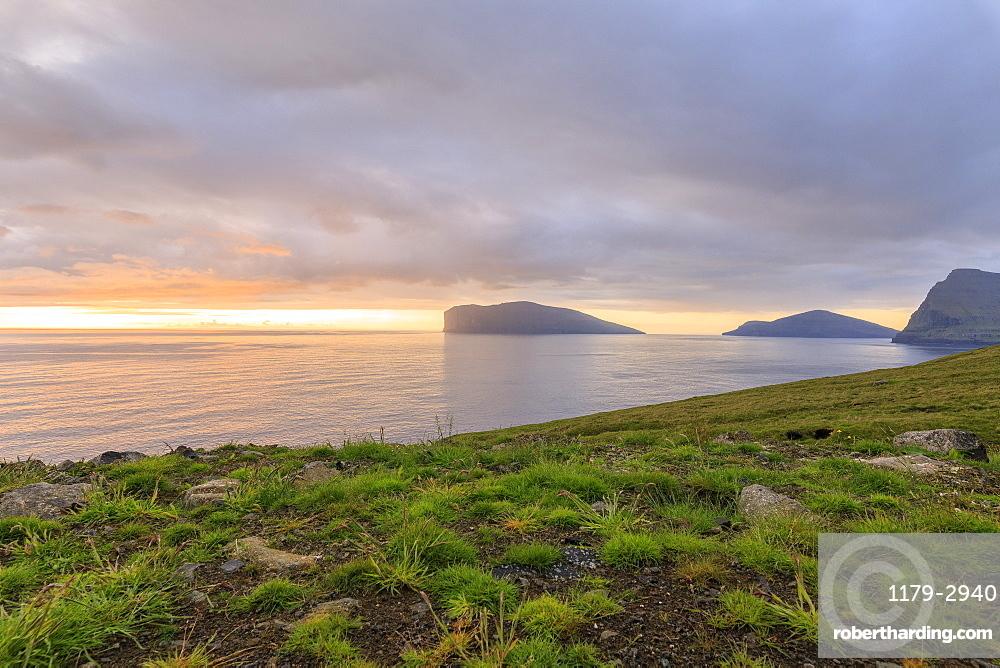 Svinoy and Fugloy Islands seen from Vidoy Island, Faroe Island, Denmark, Europe