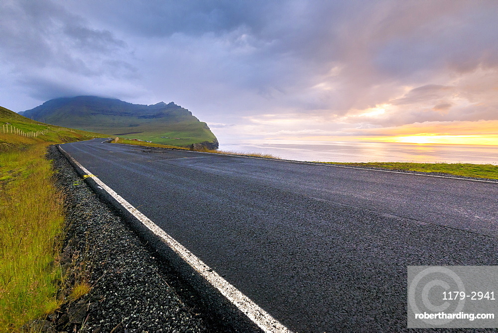 Road to Vidareidi, Vidoy Island, Faroe Islands, Denmark, Europe