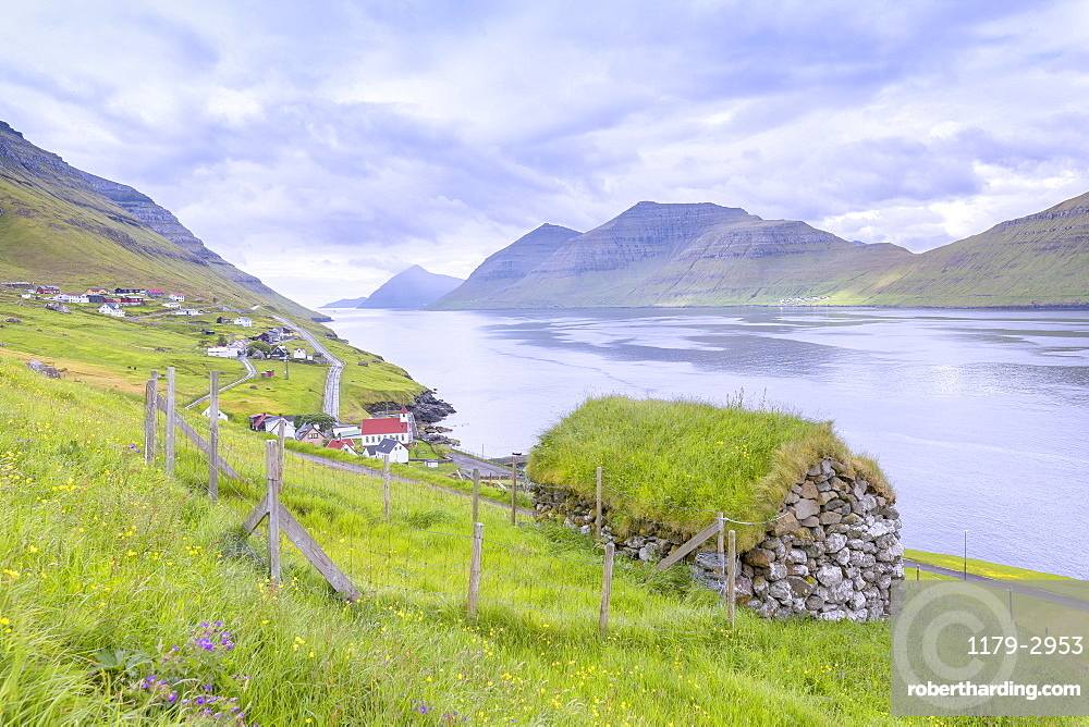 Traditional house with grass roof, Kunoy Island, Nordoyar, Faroe Islands, Denmark, Europe