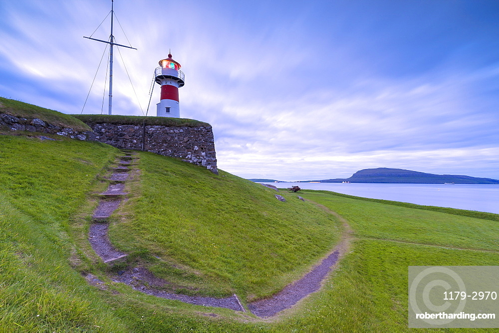 Lighthouse at Skansin fortress, Torshavn, Streymoy Island, Faroe Islands, Denmark, Europe