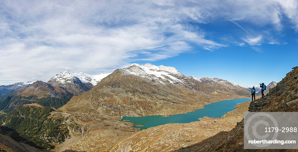 Panoramic of Lago Bianco from Piz Campasc, Bernina Pass, Engadine, canton of Graubunden, Switzerland, Europe