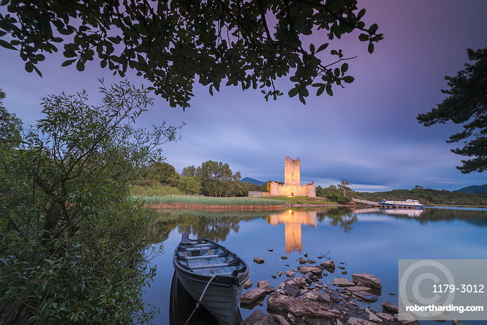 Panoramic of Ross Castle, Killarney National Park, County Kerry, Munster, Republic of Ireland, Europe