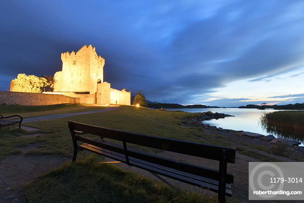 Panoramic of Ross Castle at dusk, Killarney National Park, County Kerry, Munster, Republic of Ireland, Europe