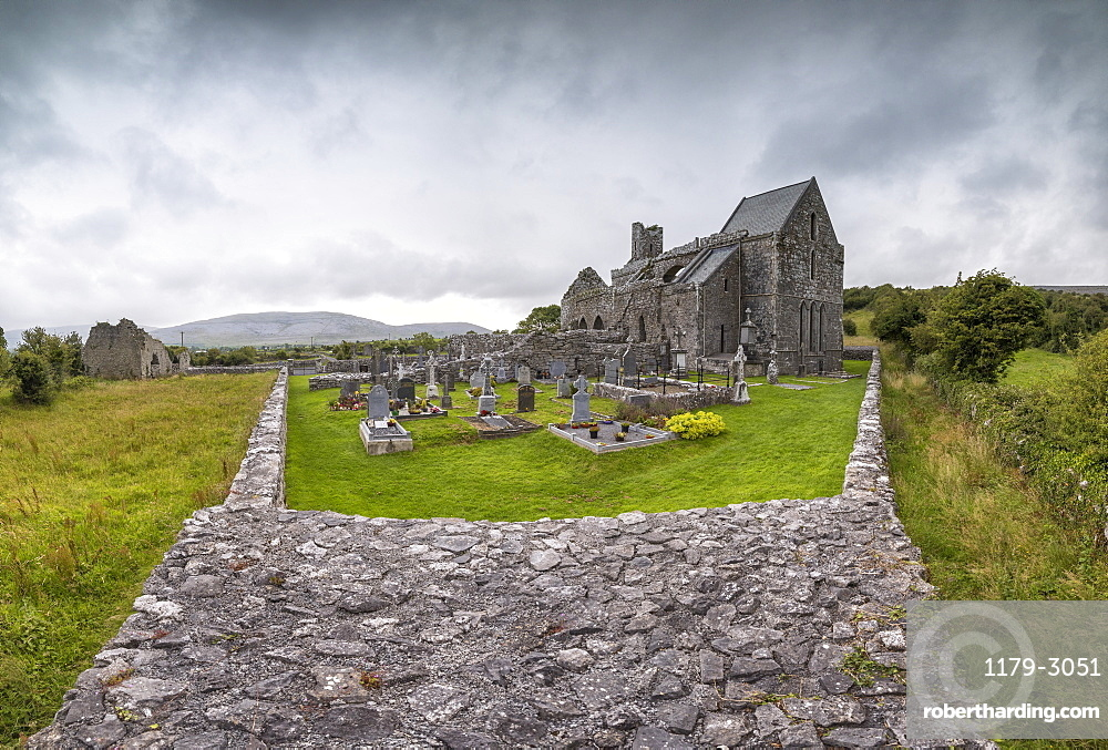 Panoramic of Corcomroe Abbey, The Burren, County Clare, Munster, Republic of Ireland, Europe