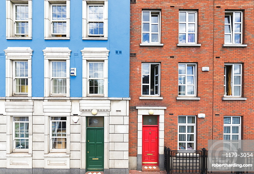 Details of architecture of colorful houses, Dublin, Republic of Ireland, Europe