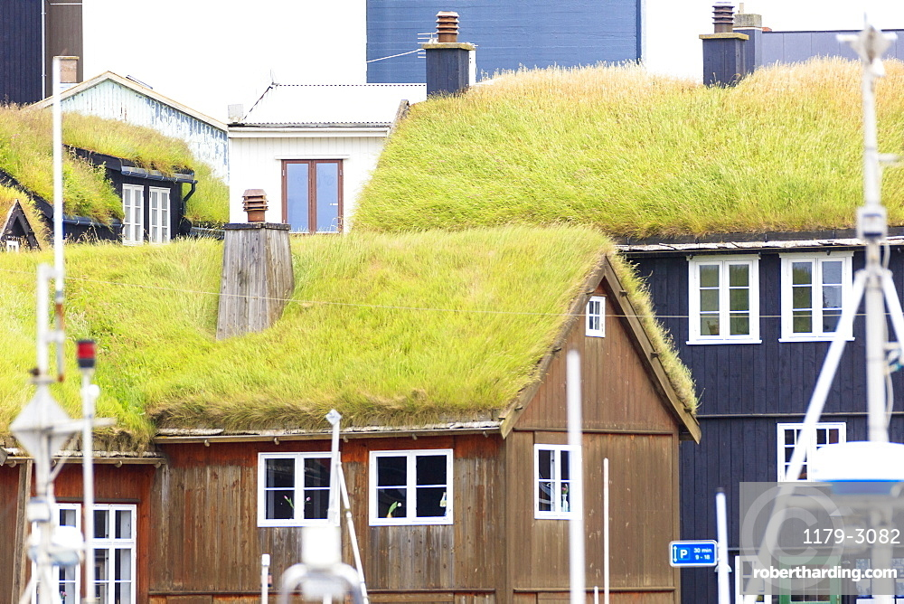 Traditional houses with grass roof at the harbour, Torshavn, Streymoy Island, Faroe Islands, Denmark, Europe