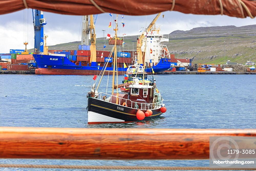 Traditional wooden boat during the historical regatta, Torshavn, Streymoy Island, Faroe Islands, Denmark, Europe