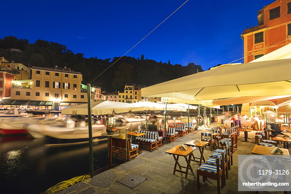 Harbour of Portofino at dusk, Province of Genoa, Liguria, Italy, Europe