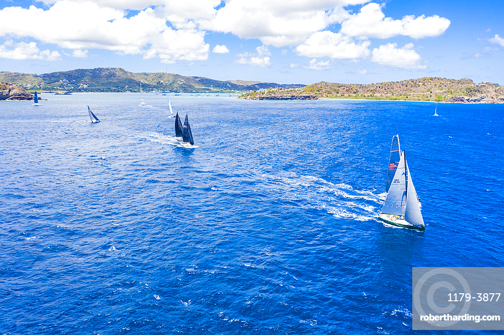 Aerial view by drone of sailing boats during a regatta, Antigua, Leeward Islands, West Indies, Caribbean, Central America