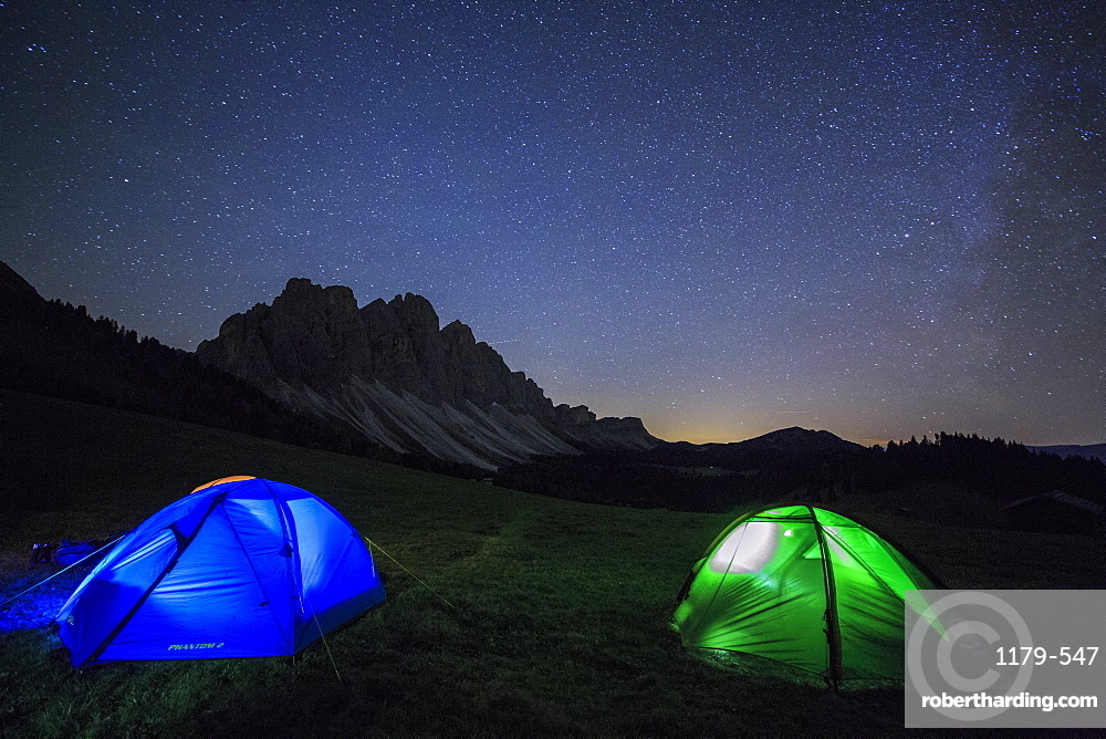 Camping under the stars, Malga Zannes, Funes Valley, South Tyrol, Dolomites, Italy, Europe