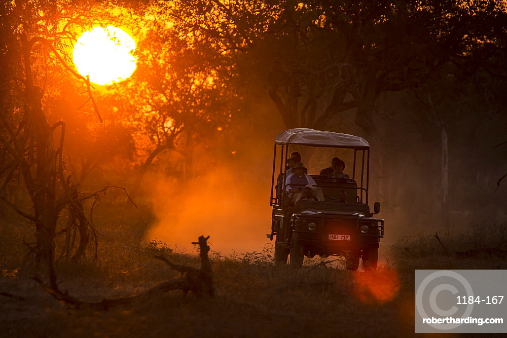 Jeep in backlight at sunset, South Luangwa National Park, Zambia, Africa